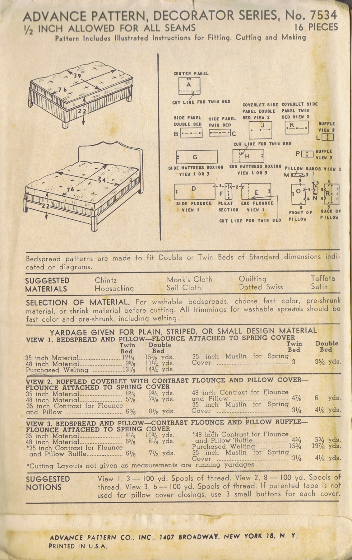 COVERLET BEDSPREAD AND PILLOW Pattern Number 7534