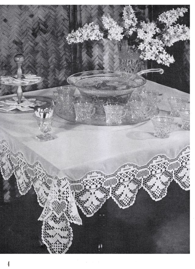 Lilac Time Filet Crochet Tablecloth Edging