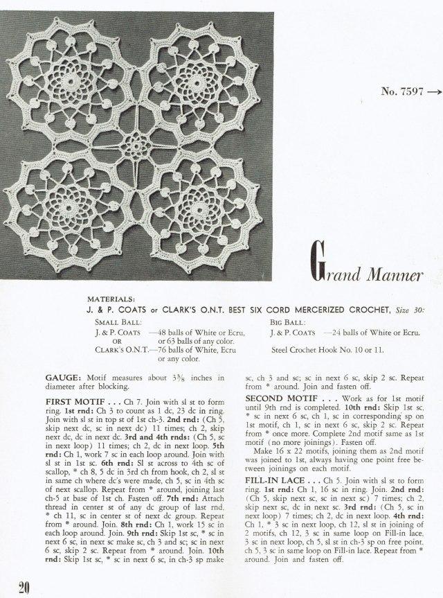 Grand Manner Crochet Medallion Tablecloth