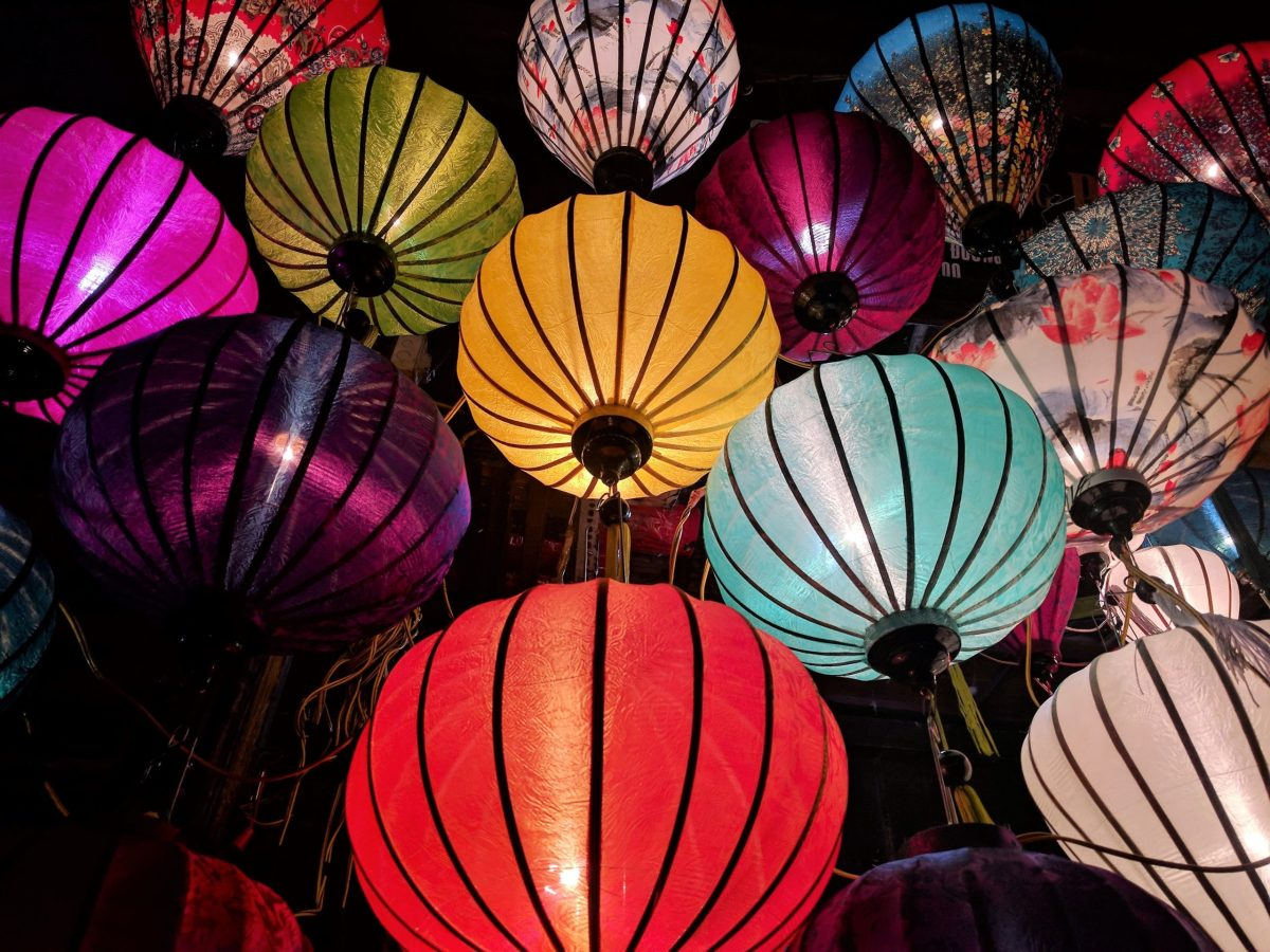 Celebrating the arrival of chinese new year with lanterns.
