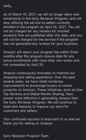 amazon early reviewer program email