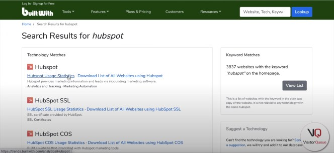 Using BuiltWith to Build a List of Your Competitor's Clients - Hubspot search results on BuiltWith