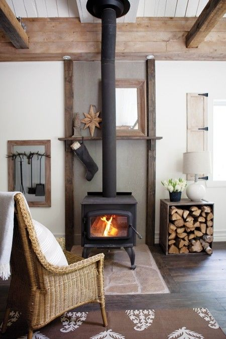 Cabin woodstove - via The Mountain Laurel