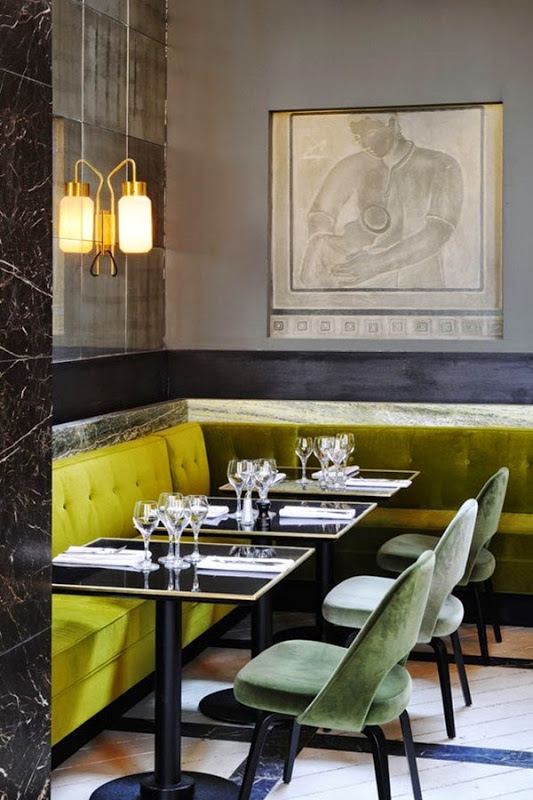 Mustard and soft green velvet in Paris restaurant Mr Bleu, designed by Joseph Dirand