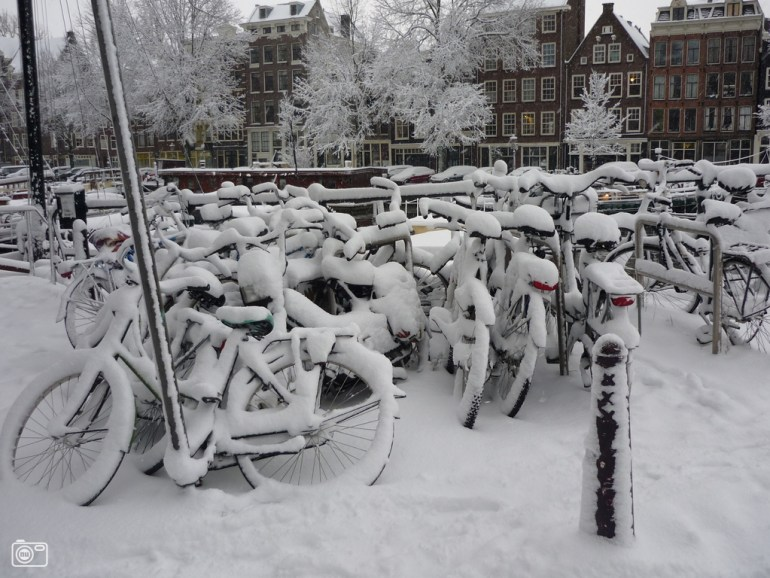 Typical Amsterdam: lots and lots of bicycles.