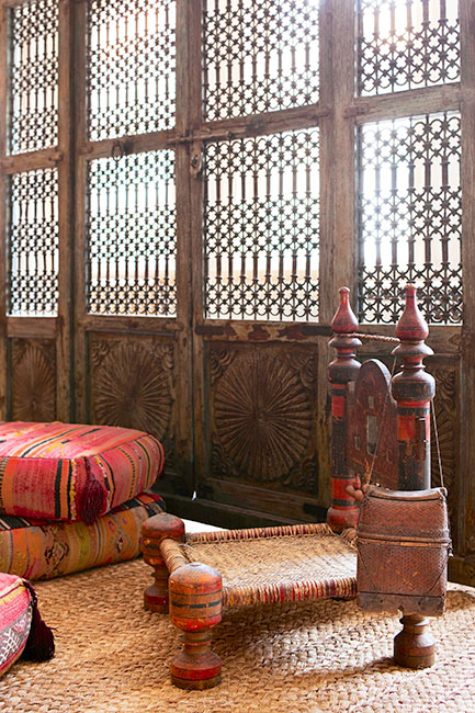 Arabian inspired interior in a NY Tribeca loft designed by Deborah French designed using Ralph Lauren fabrics