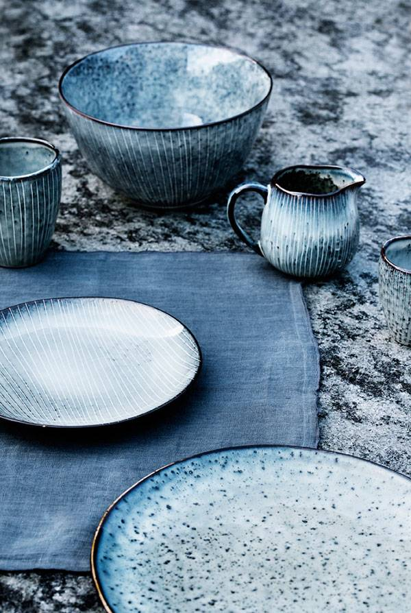 Blue crockery by Broste Copenhagen