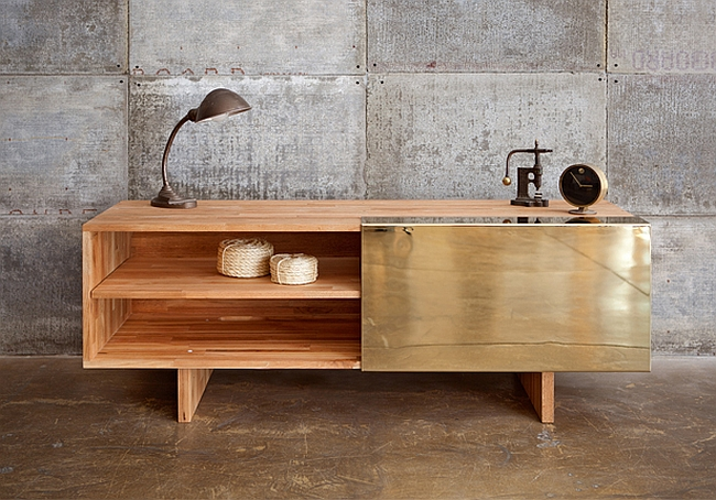 Electroplated brass door on this minimal-design sideboard - via InteriorDesign2014