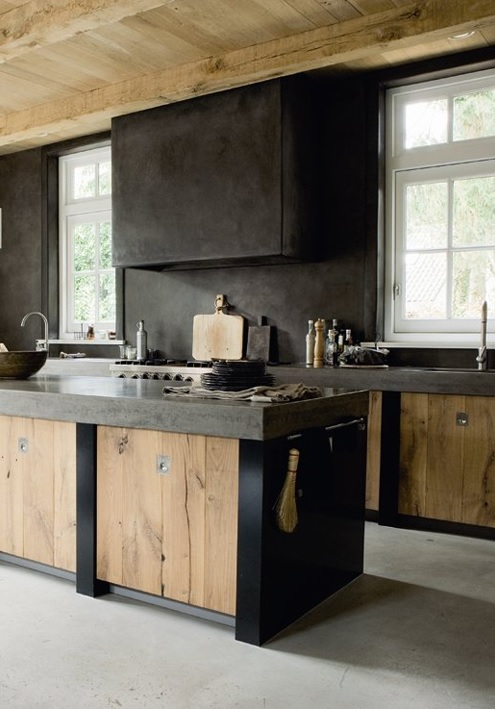 Rustic Wood Dark Tadelakt Sturdy Concrete Worktops In This Raw Country Kitchen Via Elle Decoration