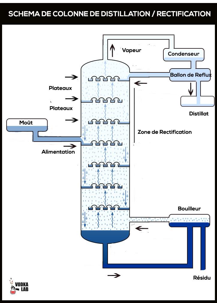 colonne de rectification distillation vodka lab