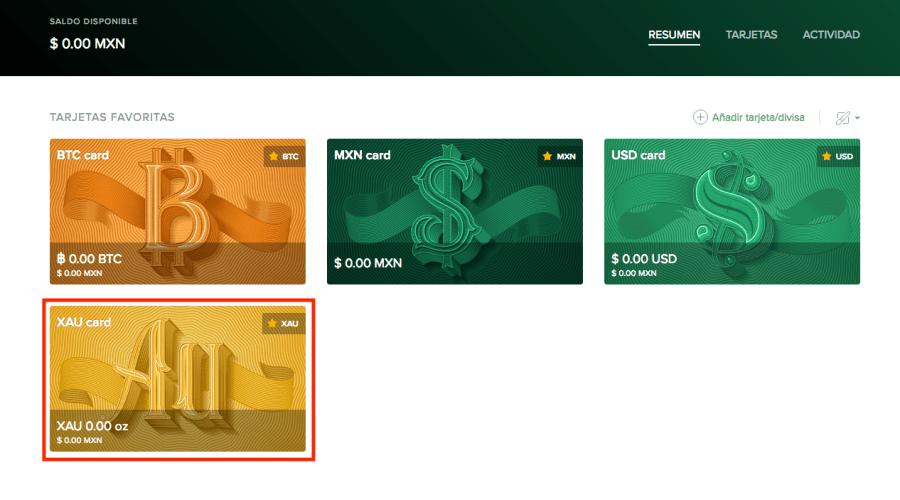 Tarjeta de XAU en Uphold dashboard, para artículo sobre cómo comprar oro en la plataforma