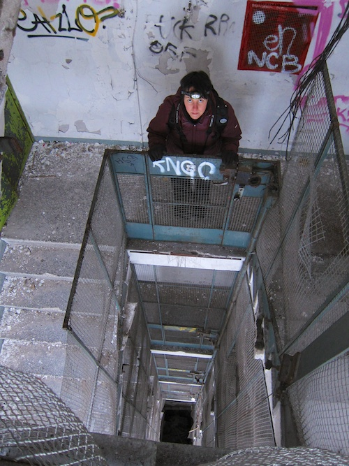 Actually the elevator was down there, in the bottom of the shaft.