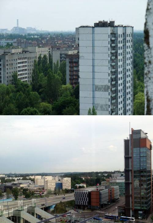 Something about our balcony view started bugging me right from the start. Then I went to my old trip pictures and all was clear. One of the photos is from Espoo, the other from Pripyat, Chernobyl.