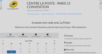Capture d'écran de l'intégration pour la réservation du code de la route dans les centres d'examen de La Poste via VroomVroom.fr