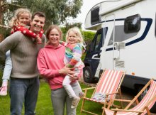 Family enjoying an RV holiday in the USA