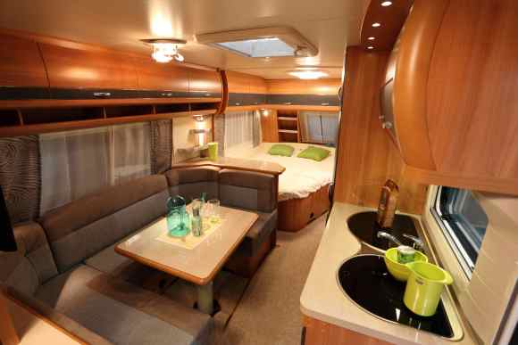 interior of a luxurious RV rental