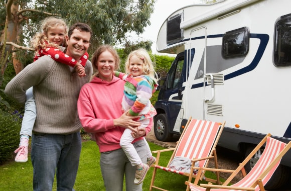 Family on a campervan holiday