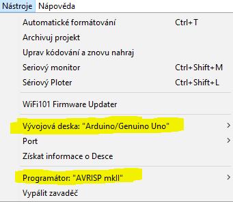 Nastavení pro upload ArduinoISP