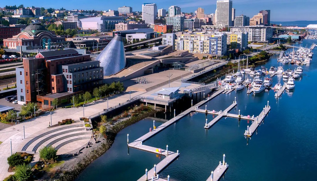 Tacoma's Public Esplanade on the west edge of Foss Waterway has waterfront benches, greenery and walkways.