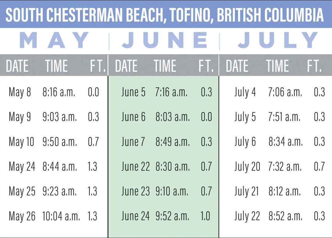 South Chesterman Beach tide pool 2020 dates and times for minus tide charts, Tofino, British Columbia