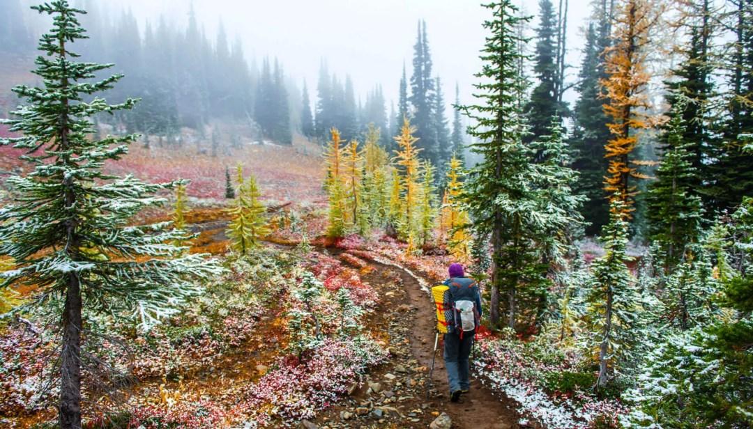 A hiker in the Pasayten Wilderness in fall