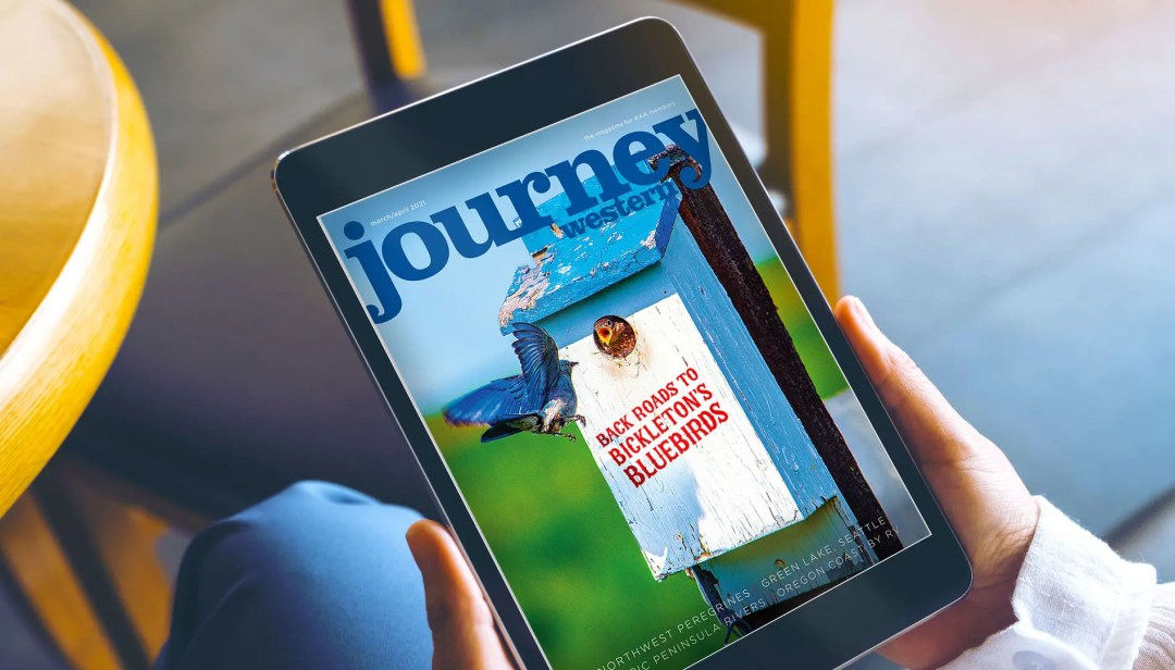 AAA Washington's Journey magazine for March/April 2021 on a tablet as the digital edition