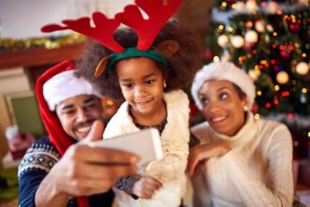 A family in a festive Christmas mood
