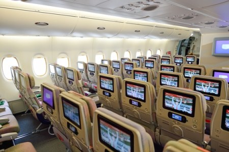 Economy cabin aboard Emirates A380