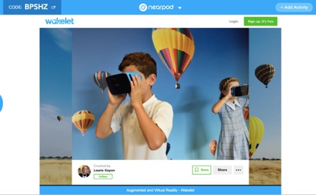 A Wakelet collection within a Nearpod lesson