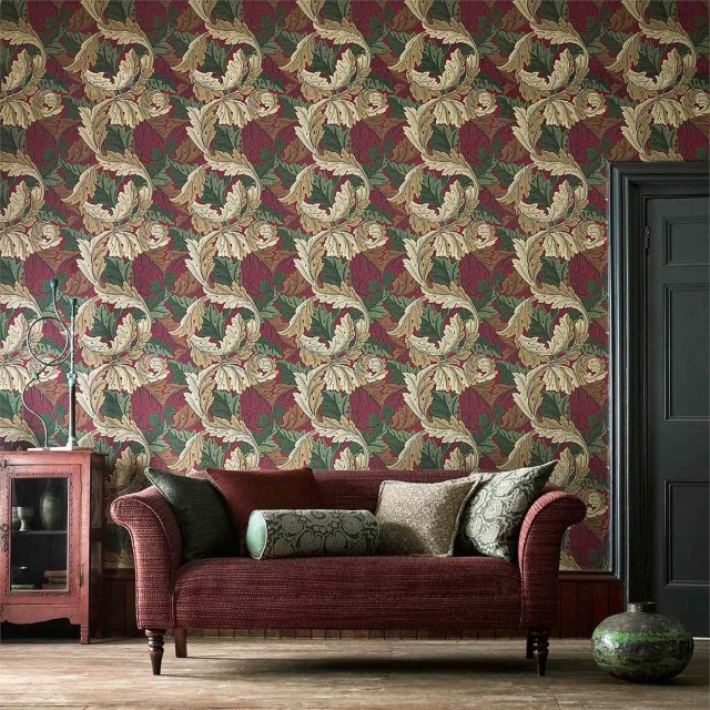 Morris Acanthus in a red living room