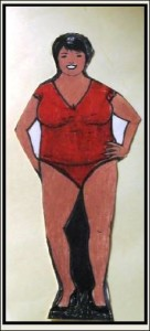 Body shape with undefined waistline and narrow hips and relatively slender legs.