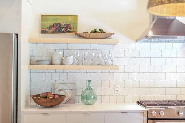 square tiles in kitchen