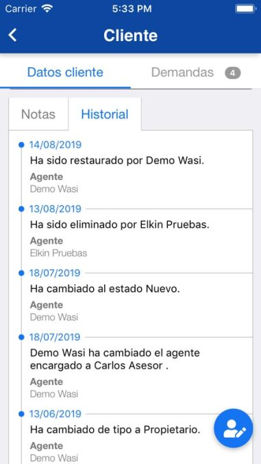 Visualizar las demandas de clientes desde app móvil Wasi