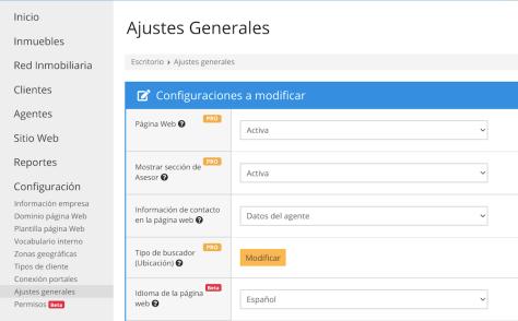 Mejoras de Wasi julio idioma pagina web inmobiliaria