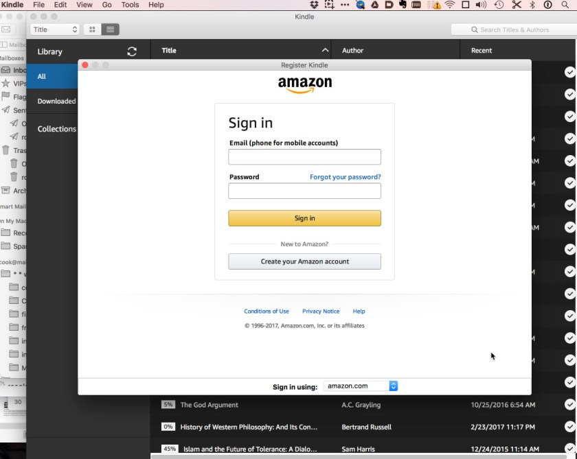 Amazon Kindle app on OS X is a hopeless mess, as is user