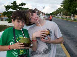 "Drew and Cameron with ""cocos frio"" in Cozumel"