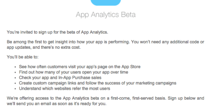 iTunes Connect – App Analytics Beta