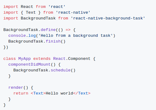 run Background services in React Native app