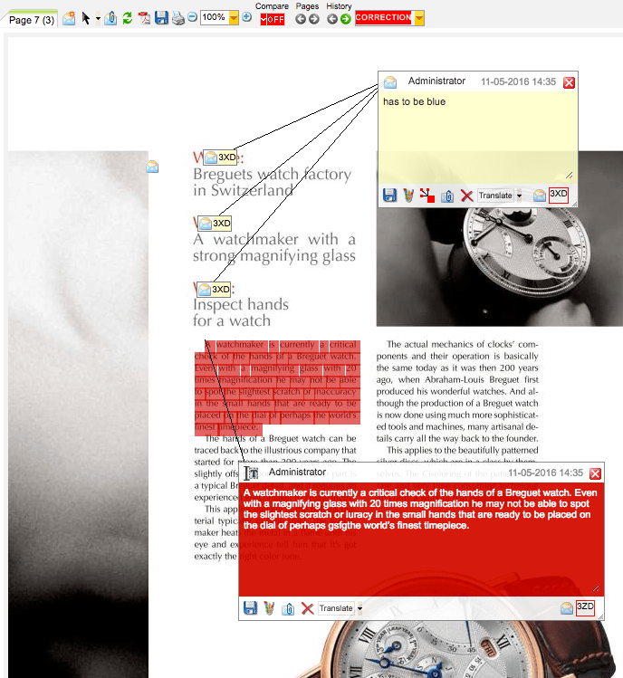 Graphic Production Project Annotation Tool with WebProof
