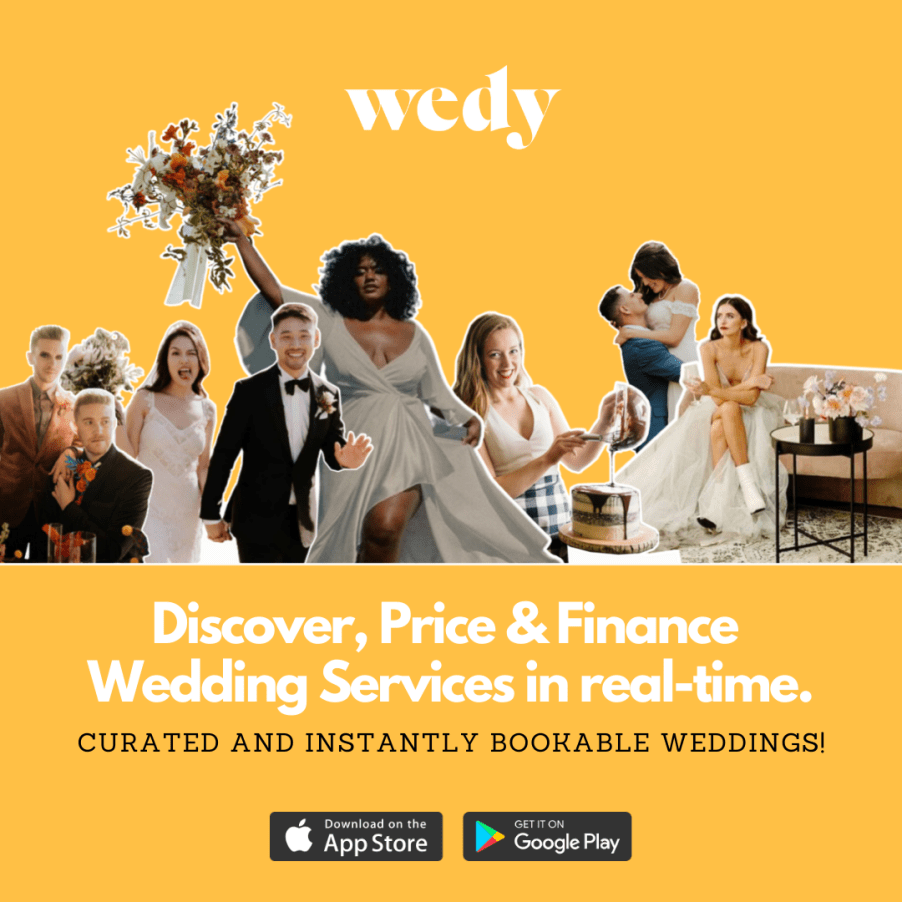 Wedy advertisement, Colorado wedding specialists. Wedding photos and couples featured on a yellow background.