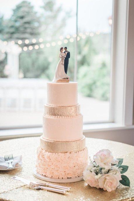 Beautiful Colorado Wedding Cake, pink icing, three tiers. Created by Cak the Bakery, Colorado.