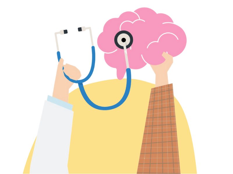 hands with brain and stethoscope