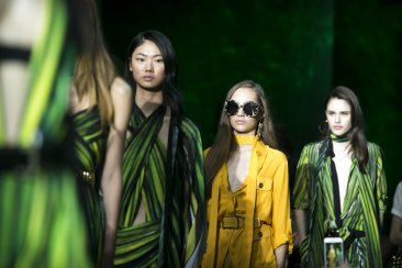 Amazonian color, dramatic silhouettes hit the Paris runways
