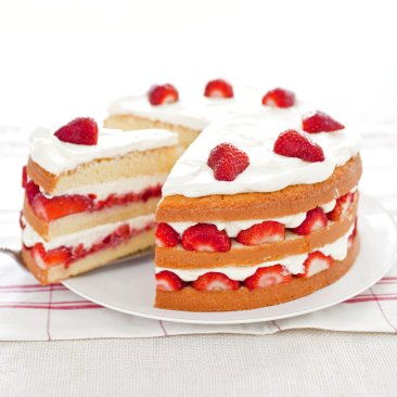 You really can't go wrong with cake, cream and strawberries