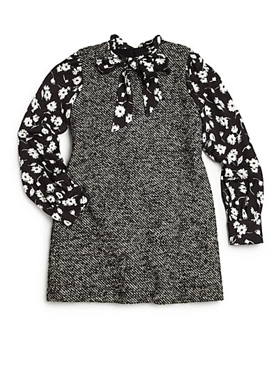 Dolce-Gabbana-Toddler-Little-Girl-Floral-Tweed-Layered-Dress
