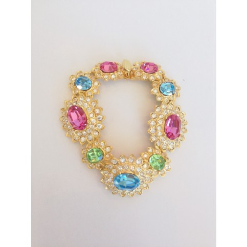 Gold and Crystal Peridot and Aqua Pink Centers Bracelet