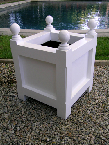 Plain White Wooden Planter