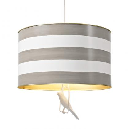 Gray and White Striped Drum Pendant from The Well Appointed House www.wellappointedhouse.com