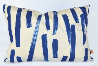 Blue Abstract Brushstroke Lumbar Pillow $186