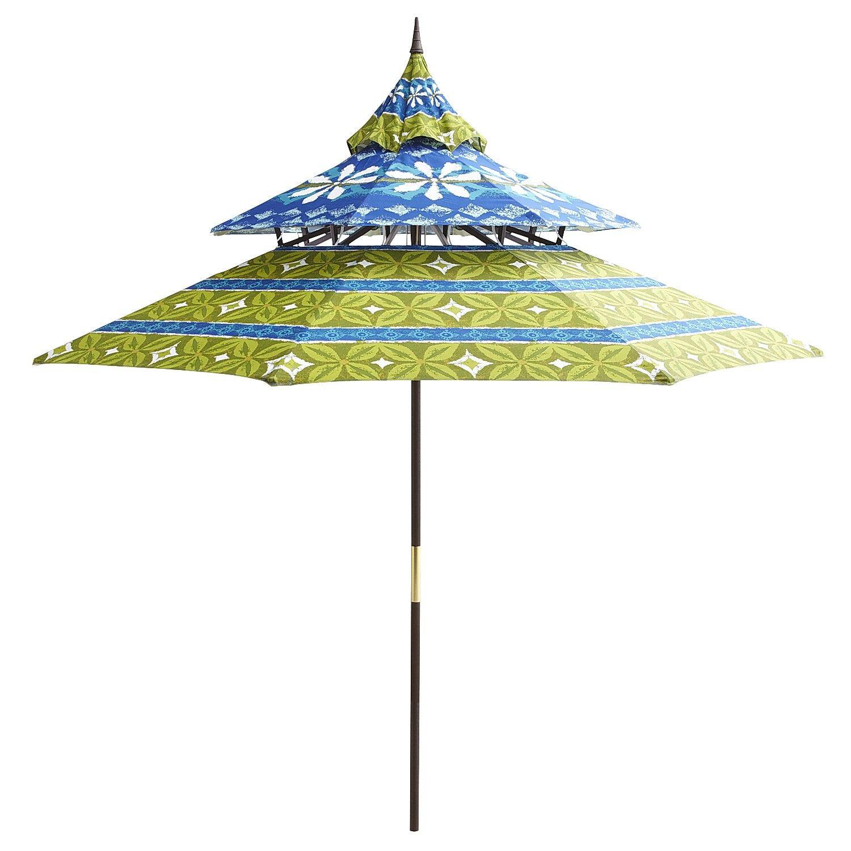 Blue Floral Pagoda Umbrella